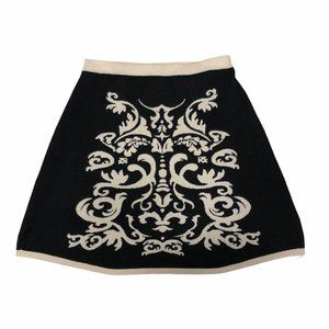 PINK ROSE A-line black and cream knit skirt
